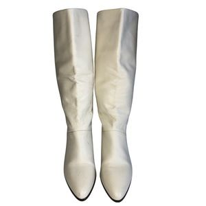 Vintage White Tall Leather Boots size 7.5
